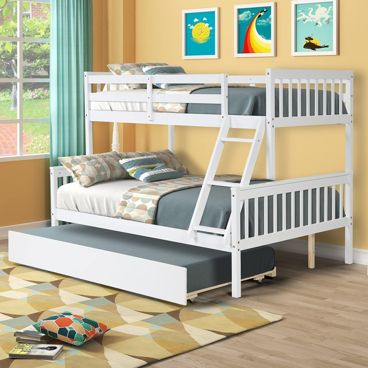 Buy Solid Wood Bunk Beds Twin Over Full Bunk Bed With Trundle Wooden Bed Frame For Kids Teens Adluts Bedroom Furniture Convertible To 2 Platform Bed With Ladder And Guardrails White Online In
