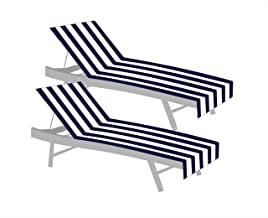COTTON CRAFT Palm Springs Cabana Stripe Set of 2 Terry Cotton Lounge Chair Covers, 32 inch x 82 inch with 7 inch Flap, Nav...
