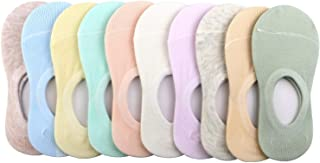 BOOPH 10 Pairs No Show Socks for Girls Anti-slip Solid Color Low Cut Kid Sock