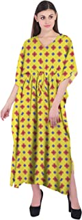 RADANYA Ikkat Women Bathing Suits Cover Up Cotton Kaftan Beach Maxi Dress Caftan