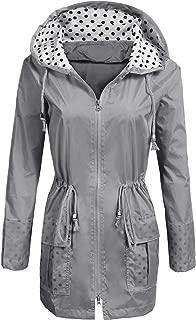Rain Jacket Women's Waterproof Raincoat with Hood Lightweight Packable Ladies Outdoor Hooded Windbreaker