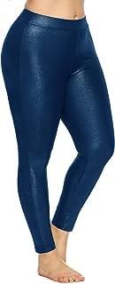 Guandoo Womens Plus Size Metallic High Rise Leggings Super Stretchy Shiny Pants Bottom