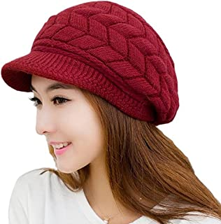 MOHSLEE Women's Cable Knit Visor Hat with Flower Accent Crochet Beanie Skull Cap
