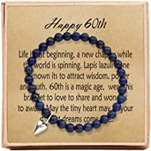 60th Birthday Gifts for Women Turning 60 – Bead Bracelet with Message Card & Gift Box - Sixtieth