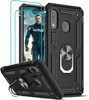 LeYi för Samsung Galaxy A20s fodral och 2 härdat glas skärmskydd, ringhållare militär kvalitet skyddande silikon stöttålig...