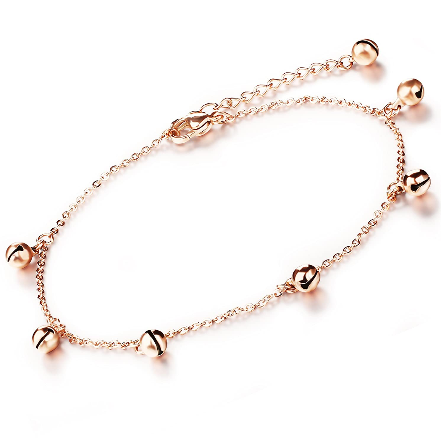 Marrymi Women Anklet Bracelet for Women Rose Gold Anklets Stainless Steel Adjustable Jewelry Set for Mother's Day Birthday and Christmas'S Day Best Gift
