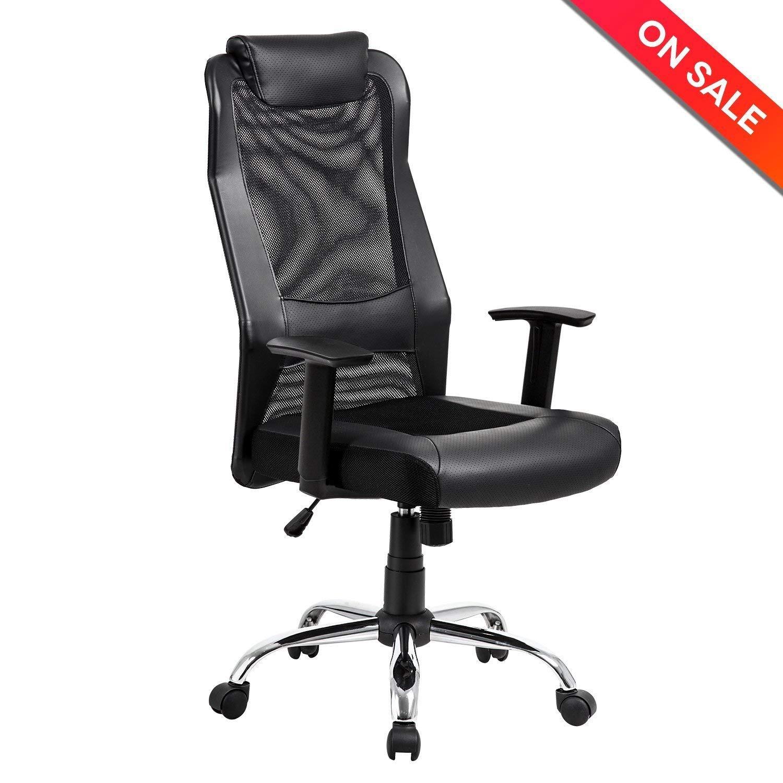 Kadirya Mesh Office Chair High Back Pu Leather Home