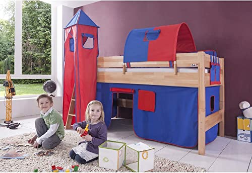 Relita Halbhohes Spielbett Kelila mit 3 tlg. Stoff-Set blau rot, Buche massiv natur lackiert