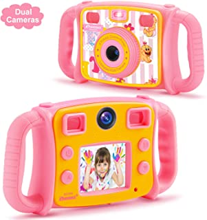 PROGRACE Kids Camera for Girls Gift 1080P Children Selfie Camera Kids Video Camera 2 Inch LCD Duo Camera 4X Digital Zoom Camcorder and Game