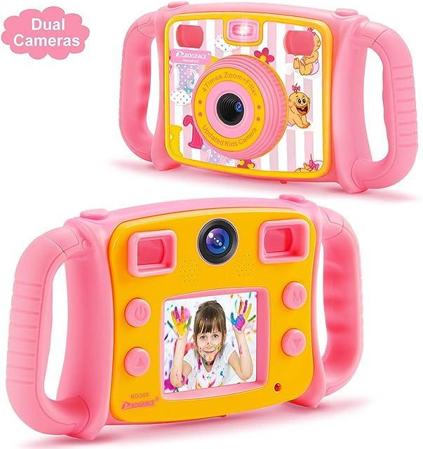 DROGRACE Cámara Infantil 1080P HD Digital Foto/Videocámara Selfie Dual Cámara con 4X Zoom Flash Lights LCD de 2 Pulgadas y Resistente a Las caídas para niños niñas cumpleaños Rosa
