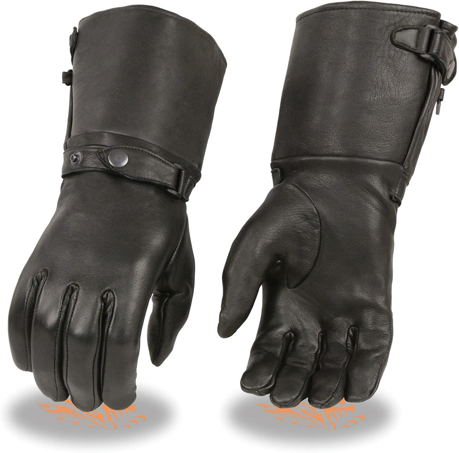 Shaf Motorcycle Women's Ultra Long Warm Deer Skin Leather Gloves with snap Buttons (3XL Regular)