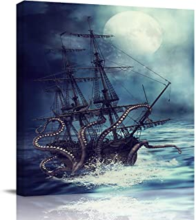 Square Canvas Wall Art Oil Painting for Bedroom Bathroom Living Room Home Decor,Kraken Octopus Monster Pirate Ship Artworks for Hotel Office Salon,Stretched by Wooden Frame,Ready to Hang,16x16in