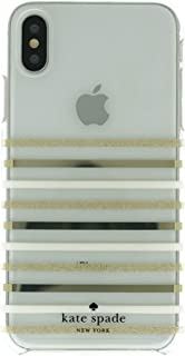 Kate Spade New York Phone Case   Apple iPhone X - iPhone Xs   Protective Cover with New Slim Design, Drop Protection   Clear - Gold Glitter/Cream