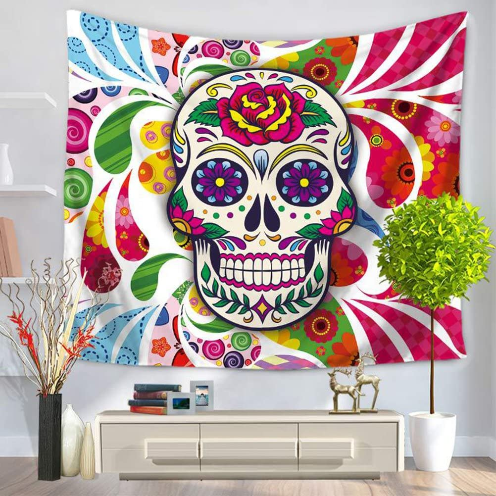 LANGUGU Sugar Skull Decor Tapestry Colorful H Classic Pattern 55% OFF with
