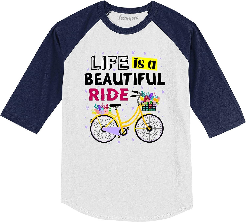 Life is A Beautiful Ride Funny Cycling Bicycle Biker Youth Girl Raglan Sleeve Shirt