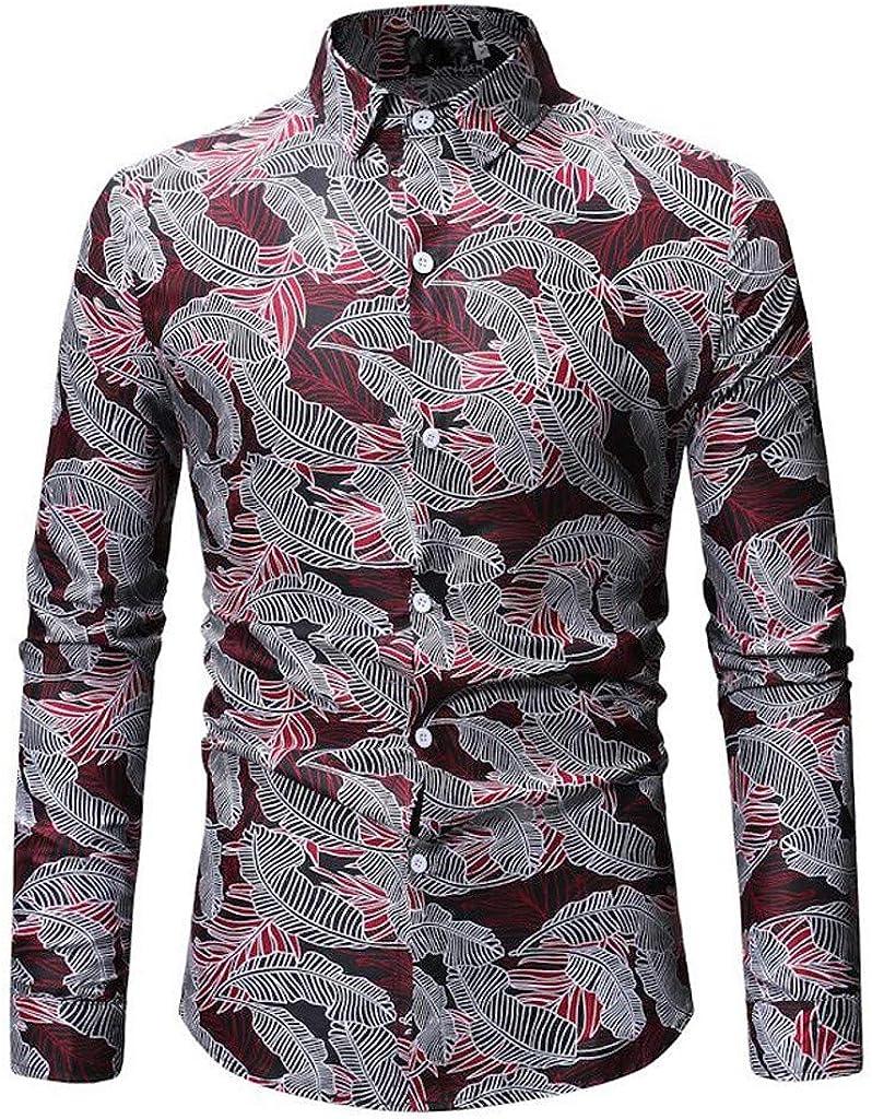 MODOQO Men's Button Down Shirt, Summer Long Sleeve Personality Print Turn-Down Collar Tops