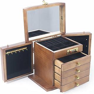 Boîte à bijoux vintage à 5 couches en bois avec cadenas pour les amis et les mères