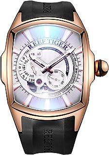 Reef Tiger Relojes Deportivos para Hombres Relojes automáticos de Oro Rosa Reloj con Correa de Caucho