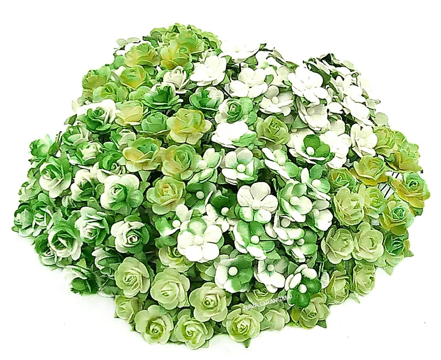 NAVA CHIANGMAI Artificial Mulberry Paper Rose Flower Mixed Color Tone Decorative Flowers for Crafts, Scrapbook Flowers Embellishments,Paper Craft Flowers,Mini Decorative Flowers. (Green Tone)