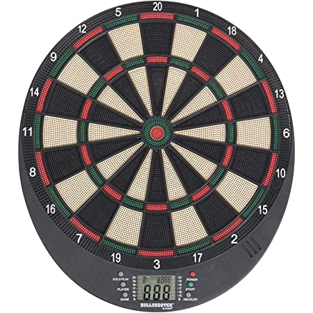 Arachnid Bullshooter Lightweight Electronic Dartboard with LCD Scoring Displays, Heckler Feature, 8-Player Scoring and 21 Games with 65 Variations , Black, 18.5L x 17.5W x 6.75D in.
