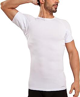 Ejis Men's Sweat Proof Undershirt, Crew Neck, Anti-Odor Silver, Micro Modal, Sweat Pads