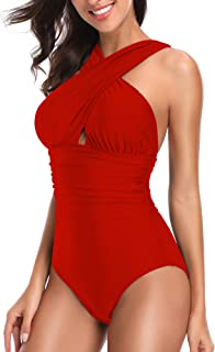 37817a722d4 W YOU DI AN Women's Swimsuits One Piece Tummy Control Front Cross Backless Swimsuit  Bathing Suit
