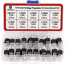 Gufastore 10 Kinds High-Current Positive Voltage Regulator IC Assortment Kit, Including LM317 L7805 L7806 L7808 L7809 L7810 L7812 L7815 L7818 L7824 TO-220 Package