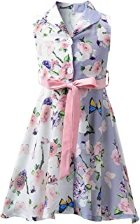 Kid Floral Sleeveless Summer Sundress for Girls Casual Dresses with Belt