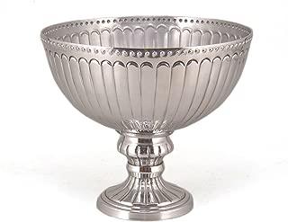 Silver Color Metal Pedestal Bowl Compote Vase Bead Border Wedding Flower Arrangement Home Decoration 10# Diameter
