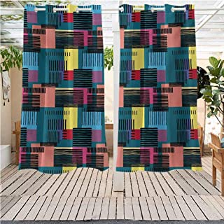 DONEECKL Retro Curtains for Bedroom Hand Drawn Vintage Composition of Geometric Shapes Squares Rectangles and Stripes Gazebo W63 x L72 inch Multicolor