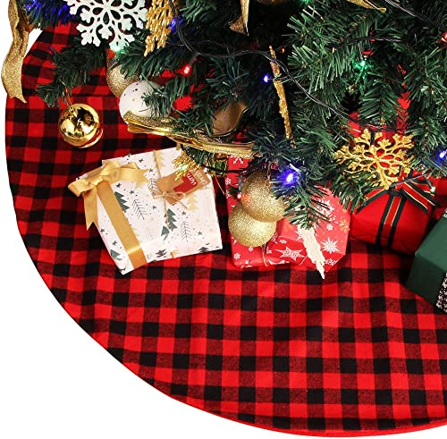 YIZCO Christmas Tree Skirt Buffalo Fine Plaid Red and Black 48 Inch XmasTree Skirt for Christmas Decorations Double L...