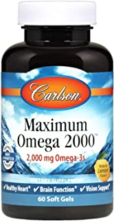 Sponsored Ad - Carlson - Maximum Omega 2000, 2000 mg Omega-3 Fatty Acids Including EPA and DHA, Wild-Caught, Norwegian Fis...
