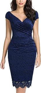 Miusol Women's Retro Deep-V Neck Ruffles Floral Lace Evening Pencil Dress