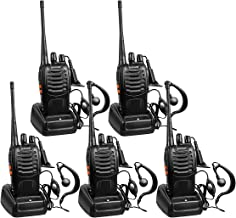 BaoFeng Rechargeable Long Range Two-Way Radios with Earpiece 5 Pack UHF 400-470Mhz Adult Walkie Talkies Li-ion Battery and Charger Included