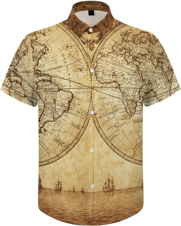Mens Button Down Shirt Vintage World Map Casual Summer Beach Shirts Tops