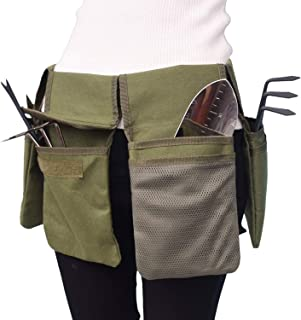 Goofly Garden Tool Belt Canvas Waist Tool Apron with Pockets Gardening Kit Tote Bag Home Organizer Gardening Tool Kit Hold...