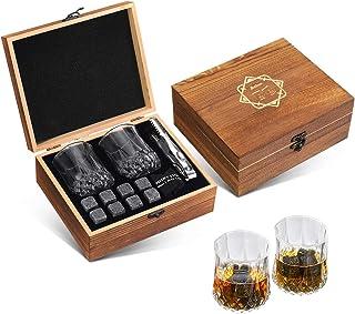 Baban Whisky Stein Set, Wiederverwendbare Eiswürfel, 8 Eissteine und 2  200ml Whiskygläser, Edelstahlclips und Tasche aus Fleece, Geschenk Box aus Holz, bestes Geschenk für Männer und Frauen