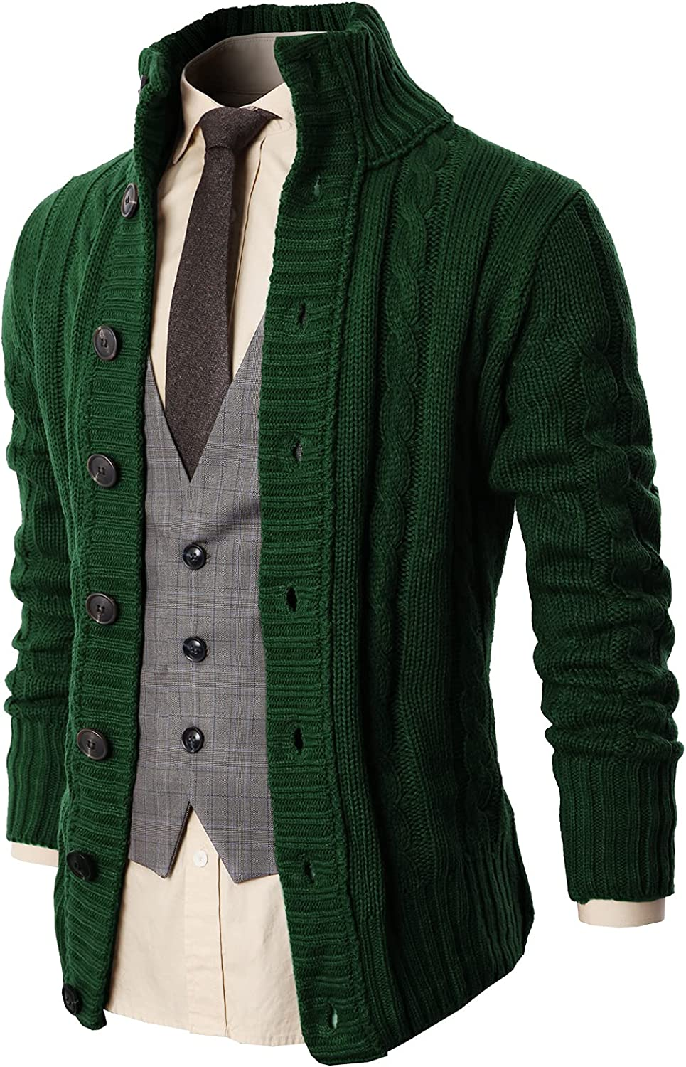 H2H Mens Casual Slim Fit Cardigan Cable Knitted Sweater Thermal Button Down Closure