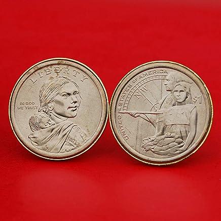 US 2014 Native American Sacagawea Dollar BU Uncirculated Coin Gold Plated Cufflinks NEW - Native Hospitality Obv + Rev