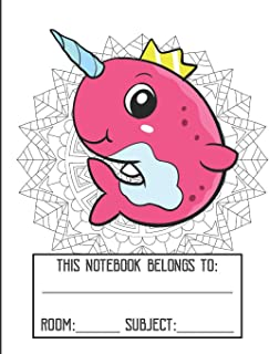 Class Mandala Coloring Cover Notebook: Fun Pink Narwhal with Crown Character Gold Glitter Print Effect Background, Large Lined Notebook For School Homework, Studying, Classes or Note Taking