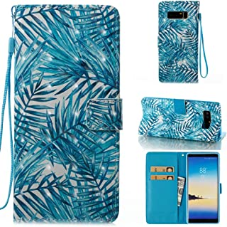 Galaxy Note 8 Wallet Case,Firefish Detachable TPU Shockproof Case Luxury Leather Cover with Magnetic Closure Kickstand Folio Cover Flip Wallet Case Card Holder Cash Pocket for Samsung Note 8-Leaves