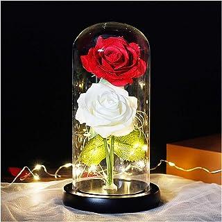 ローズベルローズ特別なロマンチックなギフトプリザーブドフラワーガラスドーム永遠にピンクレッドローズプリザーブドフラワーローズ HYFJP (Color : グレー, Size : フリー)