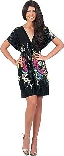 KOH KOH Womens Floral Print Summer Kimono Sleeve V-Neck Sexy Beach Mini Dress
