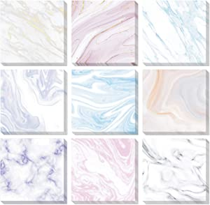 9 Pieces Marble Sticky Note Pads Adhesive Memo Notes Self-Stick Note Pads for Reminders, Study, Work, Office, School and Home, 9 Styles (Simple Colors)