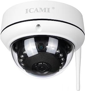 ICAMI 防犯カメラ HD 720P ワイヤレス IP 監視カメラ SDカードスロット内臓で自動録画 WIFI対応 動体検知 アラーム機能 暗視撮影