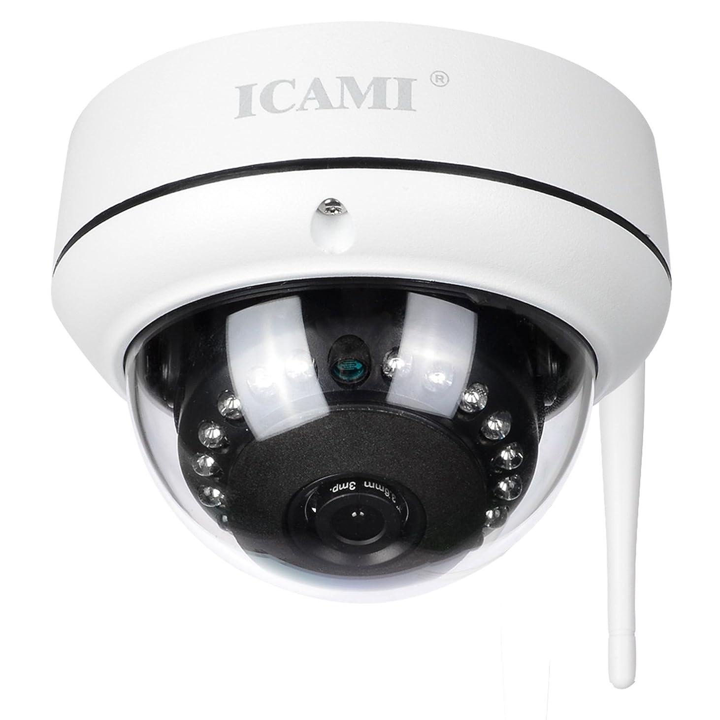 市の中心部デンプシー過言ICAMI 防犯カメラ HD 720P ワイヤレス IP 監視カメラ SDカードスロット内臓で自動録画 WIFI対応 動体検知 アラーム機能 暗視撮影