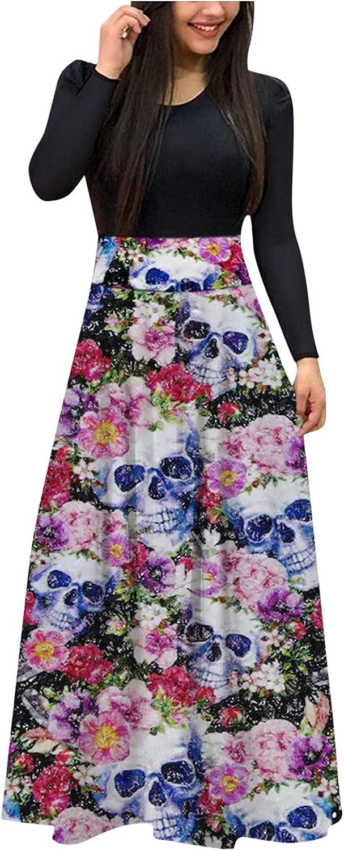 VEZARON Maxi Dress for Women, Women's Long Sleeve Loose Floral Printed Casual Tunic Long Swing Dress