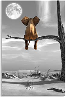 Canvas Wall Art Animal Resting Elephant Look at the moon Wall Pictures Giclee wall decor..