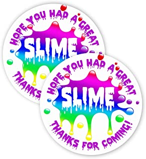 POP parties Slime Rainbow Party Favor Stickers - 40 Favor Bag Stickers - Slime Thank You Tag - Slime Party Supplies - Slime Party Decorations - Rainbow Stickers