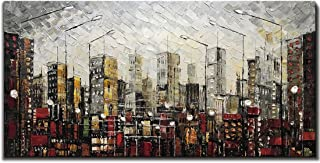 Yotree Paintings, 24x48 Inch Paintings Oil Hand Painting Urban Landscape 3D Hand-Painted On Canvas Abstract Artwork Art Wood Inside Framed Hanging Wall Decoration Abstract Painting